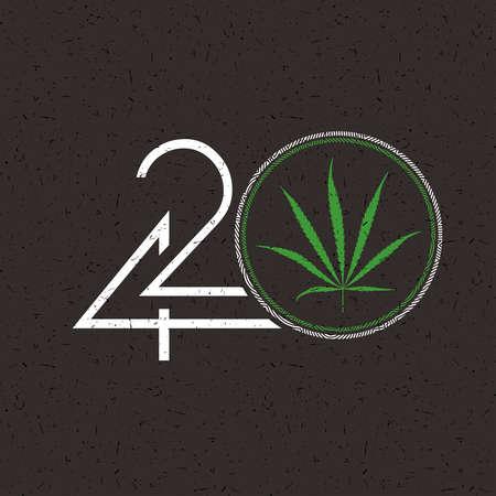 Number 420 with marijuana leaf in white circle on grunge black
