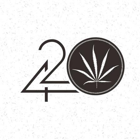 Black Number 420 with marijuana leaf in circle on grunge white Иллюстрация