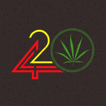 Color Number 420 with marijuana leaf in circle on grunge black Illustration