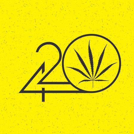 Black Number 420 with marijuana leaf in circle on grunge yellow