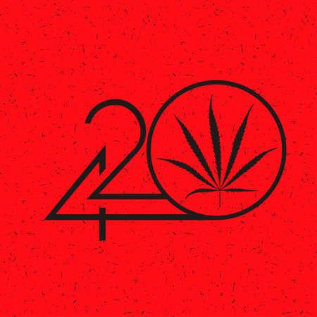 Black Number 420 with marijuana leaf in circle on grunge red