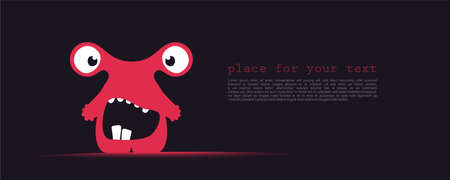 Cute red monster with funny emotions and place for text on dark Illusztráció