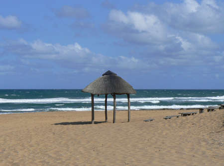 Shelter at a sunny beach in Mozambique, Africa Stock Photo - 17087743
