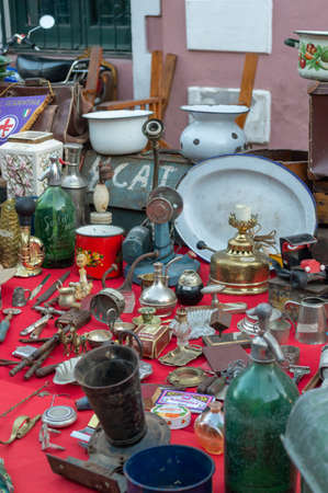 Antique objects in a flea market in Cordoba Argentina