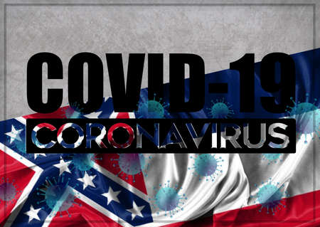 COVID-19 - Illustration - quarantine and prevention concept against the coronavirus outbreak and pandemic. Text writed with background of waving flag of the states of USA. State of Mississipi 3D illustration.