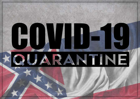 COVID-19 quarantine and prevention concept against the coronavirus outbreak and pandemic. Text writed with background of waving flag of the states of USA. State of Mississipi 3D illustration. Banque d'images