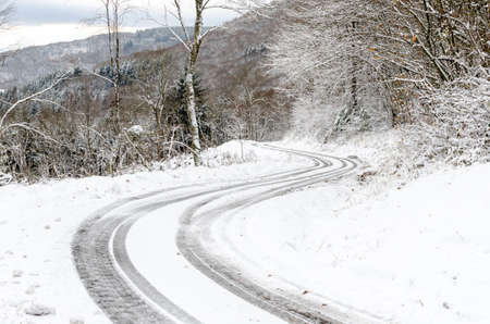 a sinuous road covered of snow in forest
