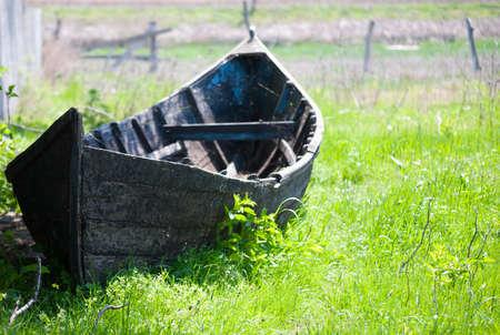 Abandoned wooden boat in Danube Delta Stock Photo - 13542051