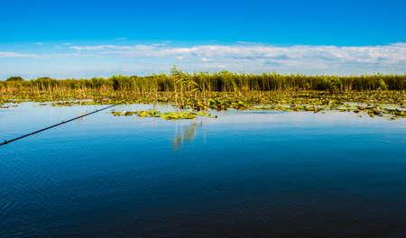 danube delta: solitude on lake in danube delta