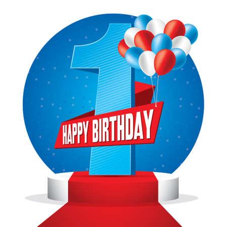 First year happy birthday symbol