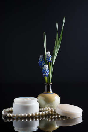 plant nature: cosmetic cream floral composition