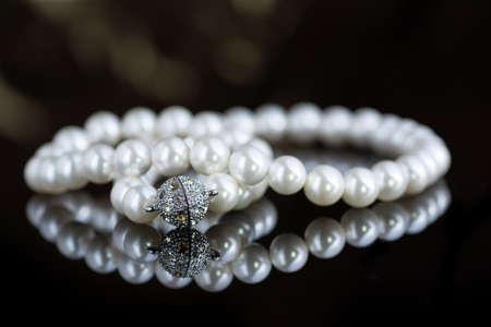 bijou: pearl necklace black background