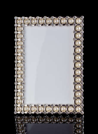 jeweled: frame inlaid pearls black background Stock Photo