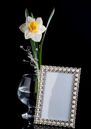 composition: floral composition frame glass Stock Photo