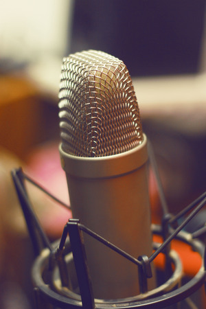 amplification: Condencer Mic In Studio On Stand Stock Photo