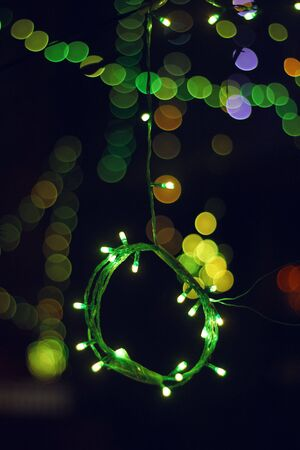 celebratory event: A bunch of green Lights in Islamic celebration with some bokeh