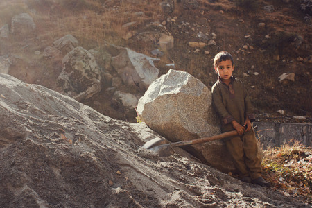 Child Labor - Little kid is working in swat valley, KPK, Pakistan 14102015