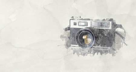 Water color effect - Photography Vintage Slr camera Stock Photo