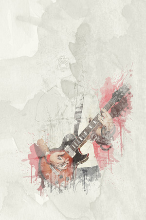 Water color effct - Rock musician men screaming and playing electric guitar standing