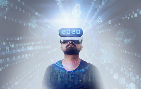 Young Guy in black t shirt wearing VR Virtual Reality glasses - 2020 Zdjęcie Seryjne