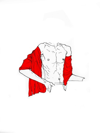 Headless Man Sitting Open Chest With With Fabric - Flag On His Shoulder - Figurative Line Drawing Creative Illustration