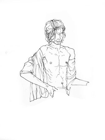 Man Sitting Open Chest With With Fabric On His Shoulder - Figurative Line Drawing Creative Illustration Фото со стока