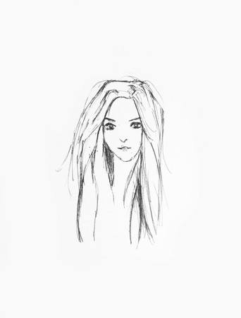 Hand Drawn Beautiful Girl Portrait - Pencil Sketch Of An Anime Girl On A White Paper Foto de archivo - 111525379