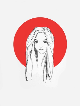 Hand Drawn Beautiful Girl Portrait - Pencil Sketch Of An Anime Girl With Red Circle On The Background Foto de archivo - 111525380