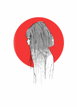 Hand Drawn Beautiful Girl Profile View Portrait - Pencil Sketch Of An Anime Girl With Red Circle On The Background Foto de archivo - 111525382