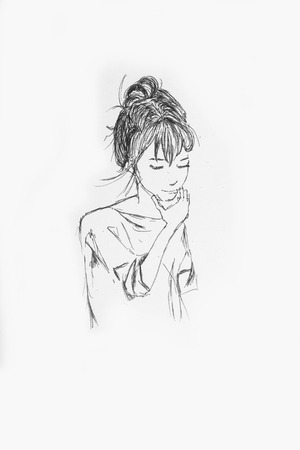 Hand Drawn Beautiful Girl Portrait - Pencil Sketch Of An Anime Girl On A White Paper Foto de archivo - 111525387