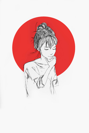 Hand Drawn Beautiful Girl Portrait - Pencil Sketch Of An Anime Girl With Red Circle On The Background Foto de archivo - 111525591