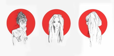 Different Pencil Sketch Of An Anime Girls With Red Circle Behind Them On The Background Foto de archivo - 111525596
