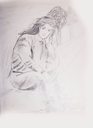 Pencil Sketch Of A Young Girl Sitting On A Foot Path And Waiting - Trees In The Background Foto de archivo - 111525599