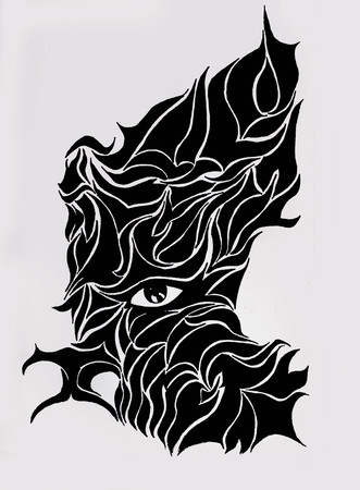 Abstract Design Half Face Using Lines And Shapes With A Single Eye - Creative Illustrations Foto de archivo - 111525603