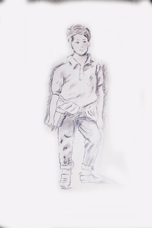 Hand Drawn Pencil Drawing Of A Young Student Boy Standing Next To A Wall Foto de archivo - 112103378