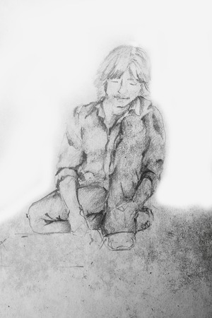 Young Student Boy Sitting And Reading Book On The Ground - Pencil Sketch