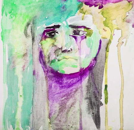 Unhappy Little Sad Kid Portrait - Abstract Watercolor Painting Colorful Foto de archivo - 112103381