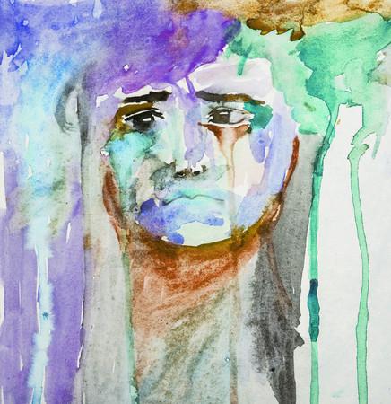 Unhappy Little Sad Kid Portrait - Abstract Watercolor Painting Colorful Foto de archivo - 112445424
