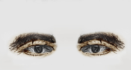 Hand Drawn And Painted Human Eyes Of A Old Man With Thick Eyebrows - Pencil Sketch And Coloring By Hand Foto de archivo - 112103426