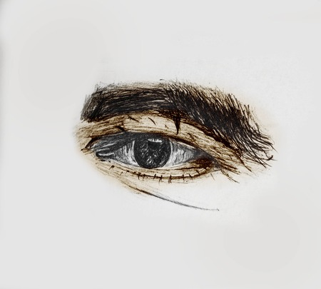 Hand Drawn And Painted Human Eye Of A Old Man With Thick Eyebrows - Pencil Sketch And Coloring By Hand Foto de archivo - 112103427