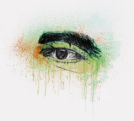 Hand Drawn Human Eye Of A Old Man With Thick Eyebrows - Pencil Sketch And Water Color Foto de archivo - 112103429