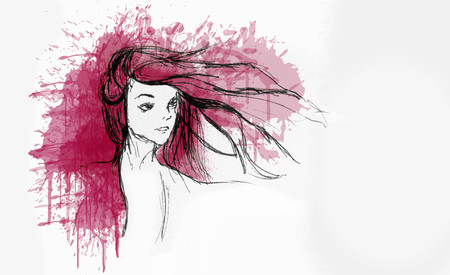 Hand Drawn Beautiful Girl Portrait - Hair Flying With The Wind - Water color Splash On The Background Foto de archivo - 111657691