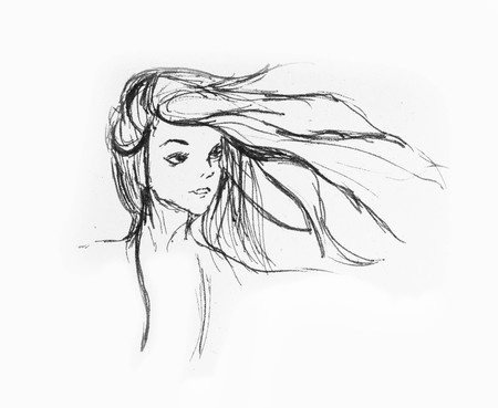 Hand Drawn Beautiful Girl Portrait - Hair Flying With The Wind On A White Paper Foto de archivo - 111657646