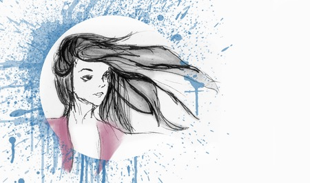 Hand Drawn Beautiful Girl Portrait - Hair Flying With The Wind - Water color Splash On The Background Foto de archivo - 111657647