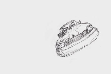 Hand Drawn Beautiful Modren Car - On White Paper Stock Photo