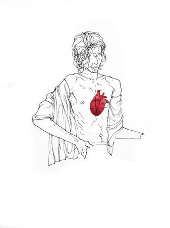 Figurative Line Drawing Of A Man Sitting Open Chest With Heart Showing Inside - Creative Illustration