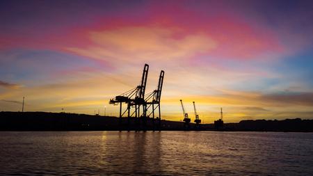 Beautiful and colorful sky of balochistan at Gawadar port Harbor Pakistan - sunset in the gawadar port Foto de archivo - 121490959