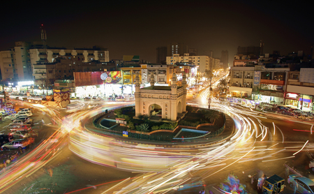 Beautiful View Of Bahadurabad Chorangi, Karachi, Pakistan - Landmark Of Karachi Which Is Very Famouse For Night Life And Food - Long Exposure Photography