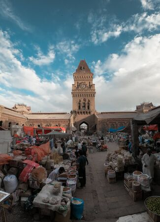 People Selling Different Things In The Beautiful Architecture Of Empress Market Karachi Building, A Historical Landmark In Karachi, Sindh, Pakistan 11/04/2018