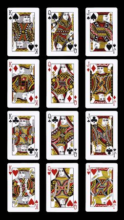 Poker J Q K playing cards isolated on black Editorial